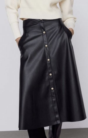 Zara Faux Leather Skirt black-gold-colored