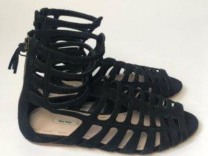 Miu Miu Romeinse sandalen zwart Suede