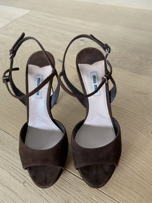 Miu Miu Platform Sandals black brown leather