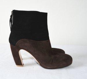 Miu Miu Ankle Boots stiefel Stiefeletten Velourleder Bicolour schwarz braun 39,5