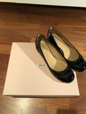 Miu Miu Patent Leather Ballerinas black