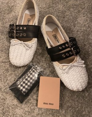 Miu Miu Strappy Ballerinas white-black
