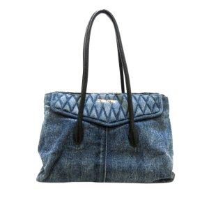 Miu Miu Bolso de compra azul Algodón