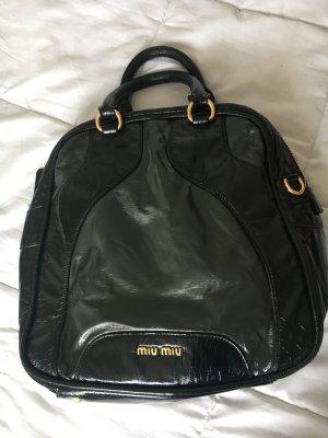 Miu Miu Bowling Tasche Lackleder Schwarz Grau