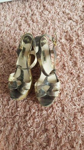 Miu Miu Wedge Sandals multicolored leather