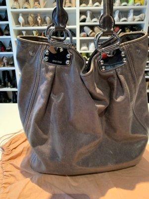 Miu Miu Handbag grey-silver-colored leather