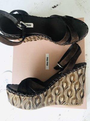 Miu Miu Platform High-Heeled Sandal dark brown leather
