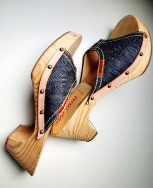 Miu Miu Socque bleu-brun sable bois