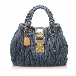 Miu Miu Coffer Denim Satchel
