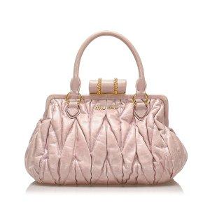 Miu Miu Coffer Leather Handbag