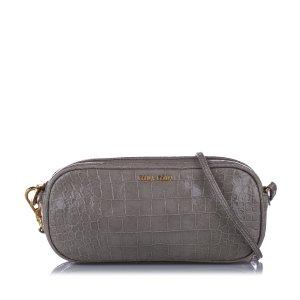 Miu Miu Croc Embossed Leather Crossbody Bag