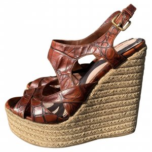 Miu Miu Croc Stamped Platform Espadrille Wedge Sandals Size 39