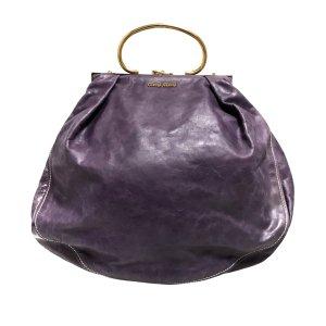 Miu Miu Mochila de colegio púrpura Cuero