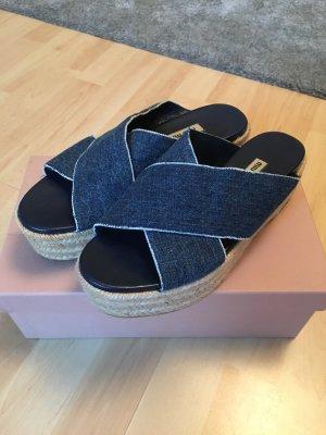 Miu Miu Plateauzool sandalen veelkleurig Leer