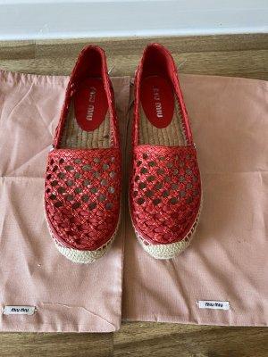 Miu Miu Espadrille Sandals red