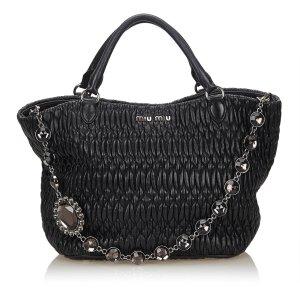 Miu Miu Gathered Nappa Leather 2 Way Bag