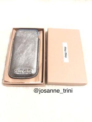 Miu Miu Mobile Phone Case silver-colored leather