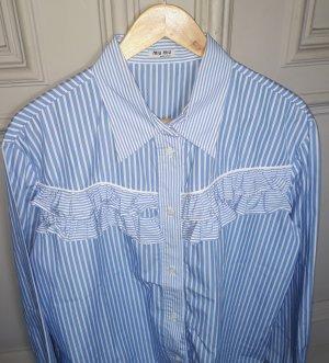 Miu Miu Chemise à manches longues bleu fluo-blanc coton