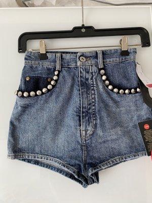 Miu Miu Jeans a vita alta blu neon Cotone