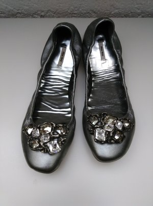 MIU MIU knautsch Ballerina Gr.39,5 Silber Grau Strassstein metalic