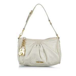 Miu Miu Shoulder Bag light grey leather