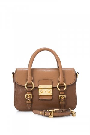 Miu Miu Leather Medium Madras Bicolored Satchel