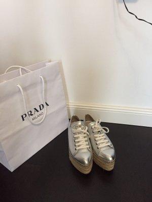Miu Miu Wedge Sneaker silver-colored-beige leather