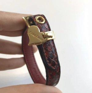 Miu Miu Lederen armband donkerrood-zwart Leer