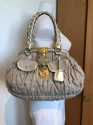 MIU MIU Matelassé Coffer Shoulder Bag Leinen