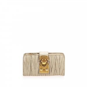 Miu Miu Matelasse Lambskin Leather Long Wallet
