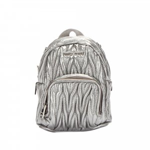 Miu Miu Backpack silver-colored leather