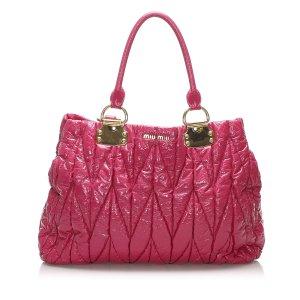 Miu Miu Matelasse Patent Leather Tote Bag