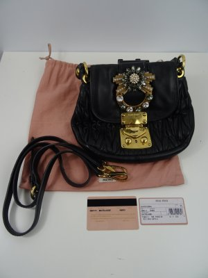 Miu Miu Matelasse Shoulder Bag - Jeweled - Schwarz