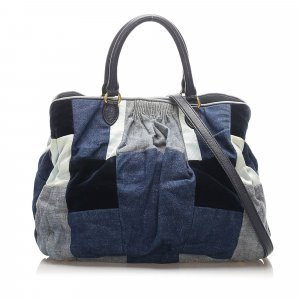 Miu Miu Patchwork Denim Satchel