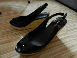 Miu Miu Escarpins à bout ouvert noir cuir