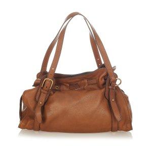 Miu Miu Peggy Bow Leather Tote Bag
