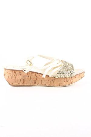 Miu Miu Sandalias con plataforma color oro-marrón look casual