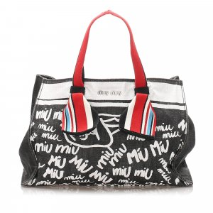 Miu Miu Printed Denim Satchel