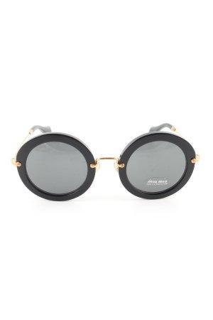 Miu Miu Ronde zonnebril zwart-goud zakelijke stijl