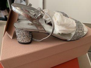 Miu Miu Dianette sandalen zilver Leer