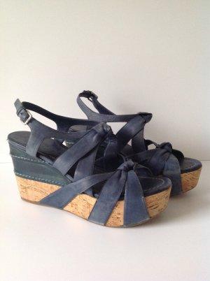 Miu Miu Strapped High-Heeled Sandals cornflower blue leather