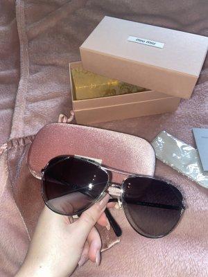 Miu Miu Aviator Glasses black-silver-colored