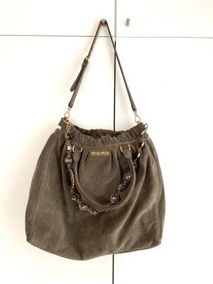 Miu Miu Strap Jewel Suede Bag Tasche taupe