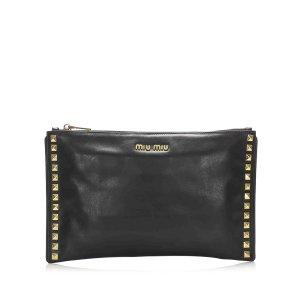 Miu Miu Studded Leather Clutch Bag