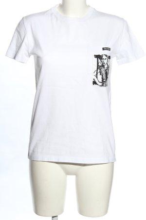 Miu Miu T-shirt biały-czarny Nadruk z motywem W stylu casual