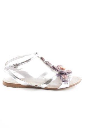 Miu Miu T-Steg-Sandaletten silberfarben-lila Glitzer-Optik
