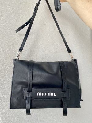 Miu Miu Sac porté épaule noir-blanc cuir