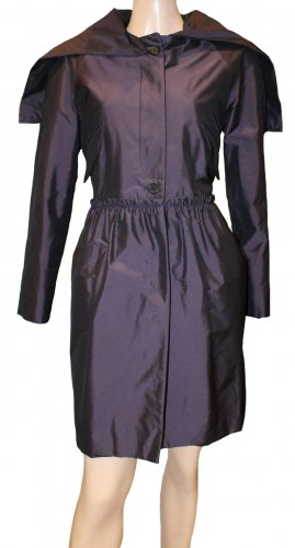 Miu Miu Hooded Coat brown violet polyester