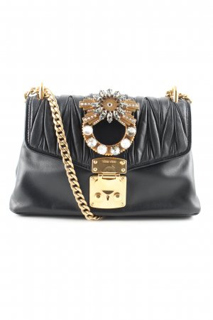 Miu Miu Umhängetasche schwarz-goldfarben Elegant
