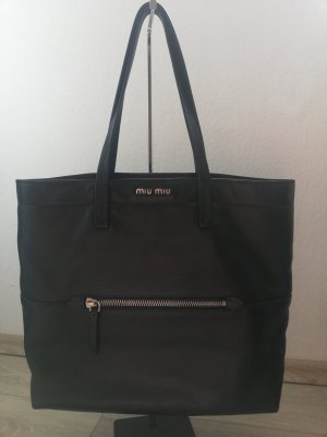 Miu Miu Shopper zwart-zilver Leer